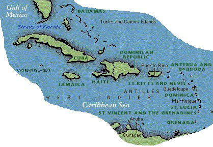 Map of the Carribbean